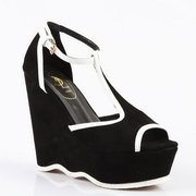 Yves Saint Laurent Black Suede and leather T-bar wedge sandals Wholesa