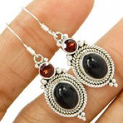 Stunning 925 sterling silver Black Onyx Earring